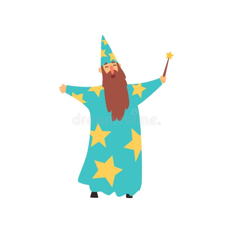 Rozochocony mężczyzna z długą brodą w błękitnym czarownika kostiumu z gwiazdami i szyszkowym kapeluszem Kreskówki samiec z magicz ilustracji