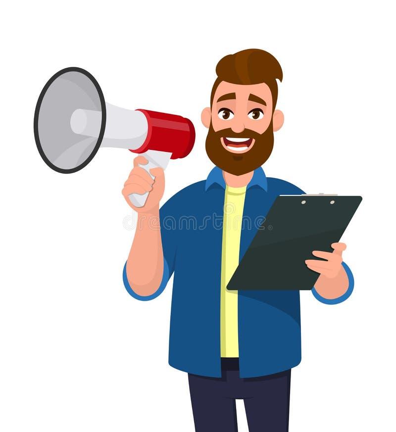 Rozochocony młody człowiek trzyma megafon lub głośnik schowek i, dokument, raport w ręce Ludzki emocja wyraz twarzy ilustracja wektor