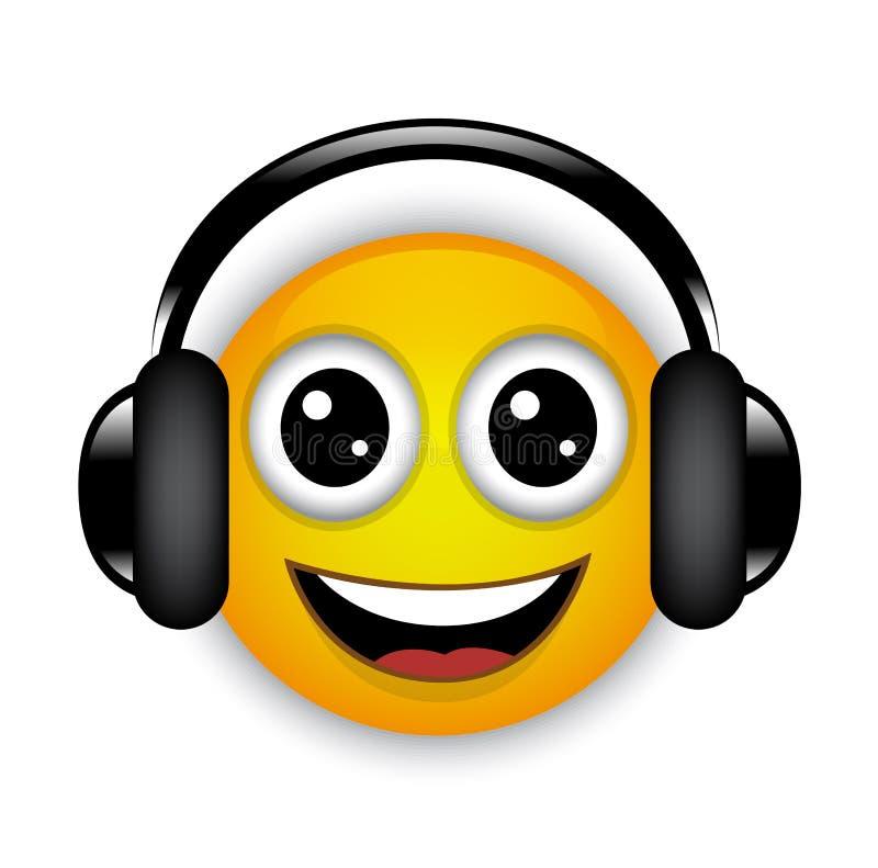 Rozochocony muzykalny emoticon z hełmofonami ilustracji