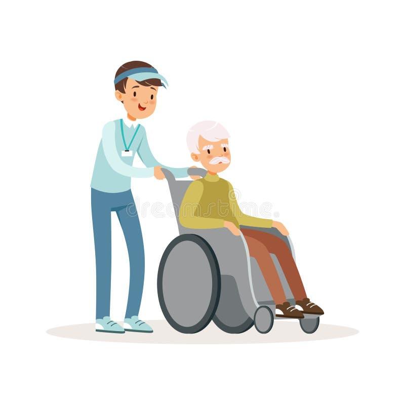 Rozochocony nastoletni chłopiec dosunięcia stary człowiek na wózku inwalidzkim Inwalidzka pomoc Żartuje wolontariusza w błękitnej ilustracja wektor