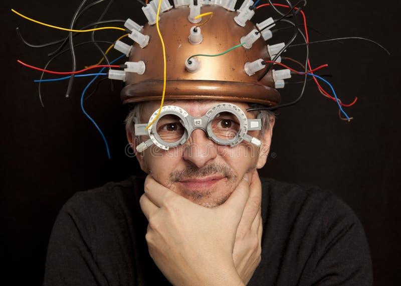 Rozochocony nowatora hełm dla mózg badania fotografia royalty free