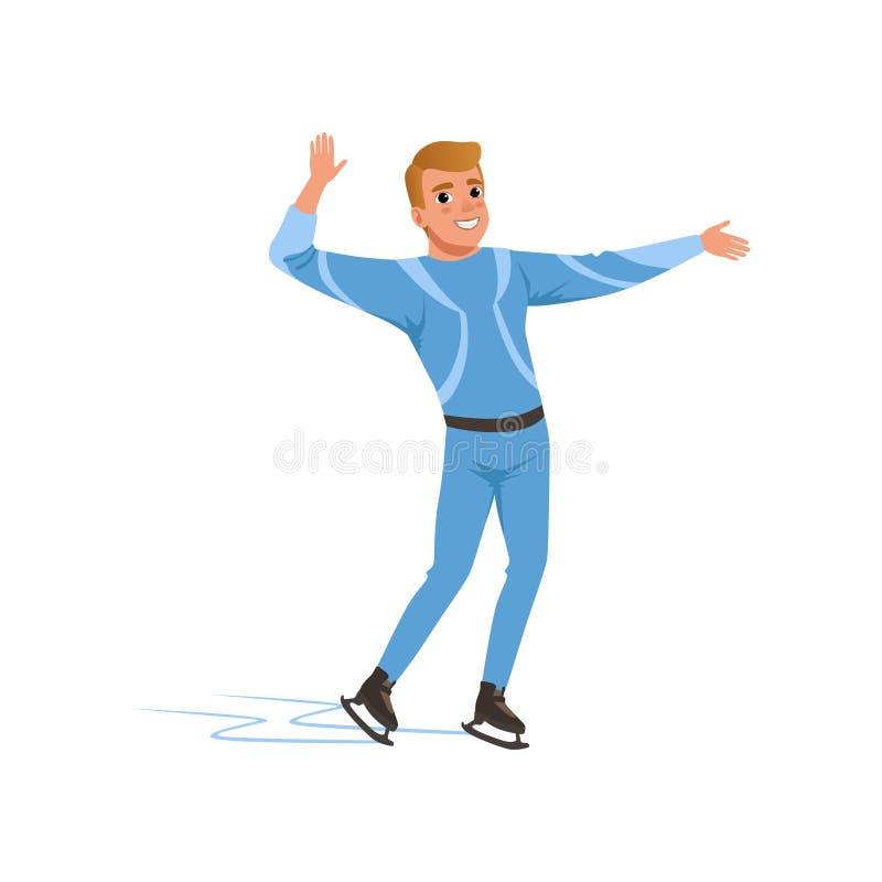 Rozochocony postaci łyżwiarki mężczyzna w błękitnym kostiumowym łyżwiarstwie, męska atleta ćwiczy przy salową łyżwiarskiego lodow ilustracja wektor