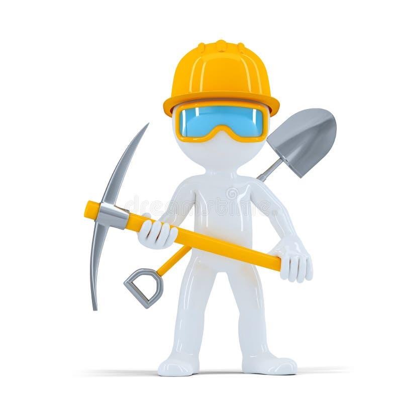 Rozochocony pracownik budowlany, budowniczy pozuje z narzędziami/ royalty ilustracja