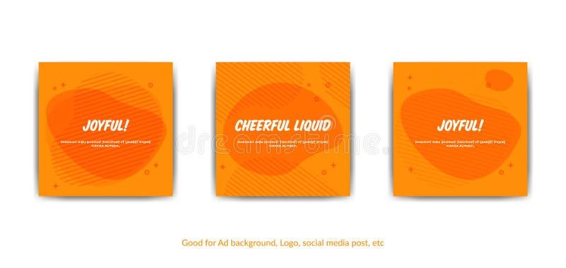Rozochocony radosny tło Set wektorowy pomarańczowy Memphis stylu tło dla pokryw, kartka z pozdrowieniami, ogólnospołeczni środki  ilustracja wektor