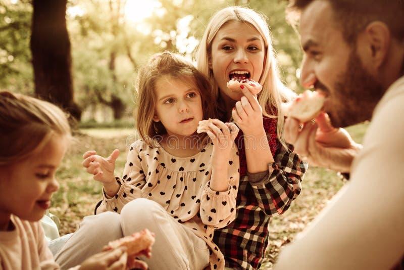 Rozochocony rodzinny cieszyć się w pinkinie wpólnie w parku zdjęcia stock
