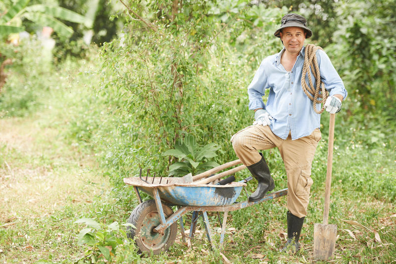 Rozochocony rolnik obrazy royalty free