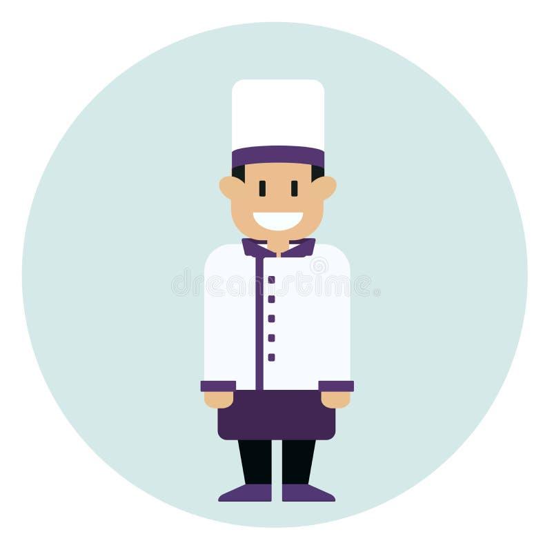 Rozochocony szefa kuchni kucharz w mundurze i kapeluszu Zawód szef kuchni Wektorowa płaska projekt ilustracja royalty ilustracja