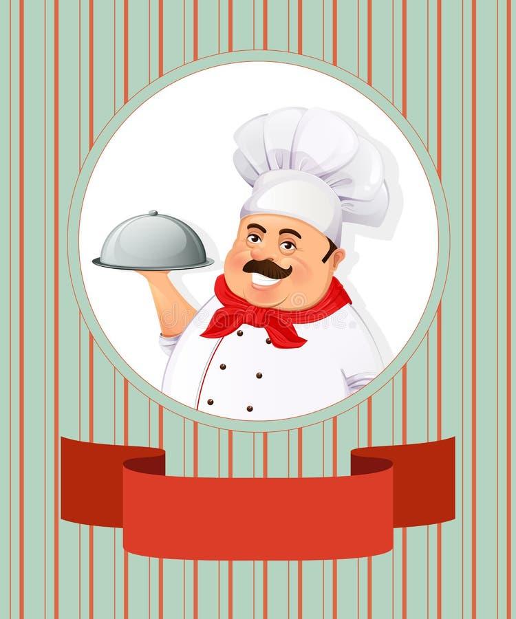 Rozochocony uśmiechnięty kucharz royalty ilustracja
