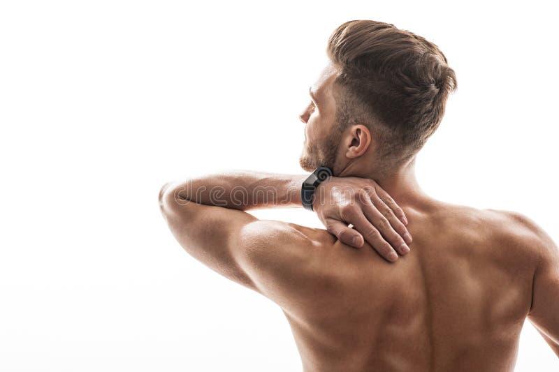 Rozpaczający sportowiec czuje ciało ból fotografia stock