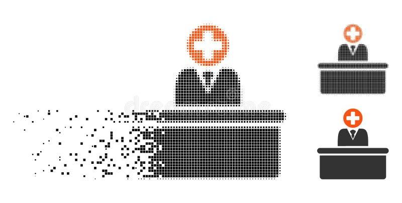 Rozpadać się Pixelated Halftone biurokrata Medyczną ikonę ilustracja wektor