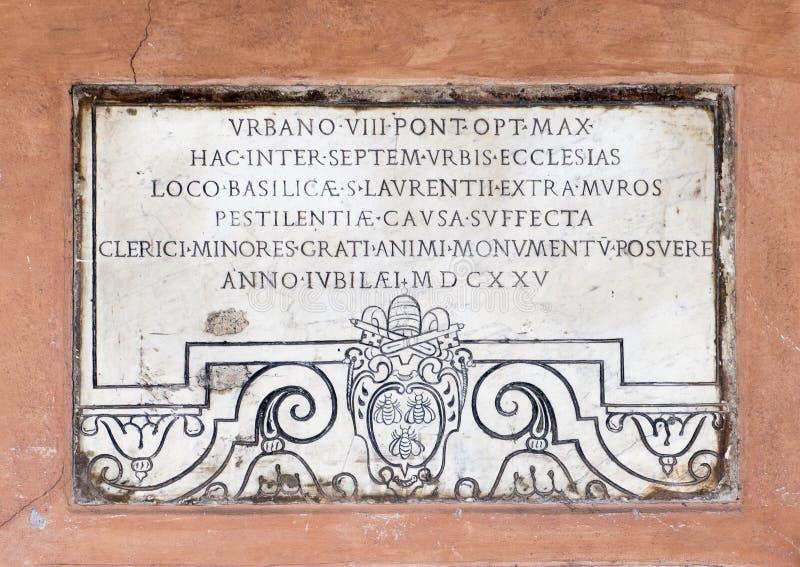 Rozpada się od wieków średnich dekoruje ganeczek San Lorenzo w Lucina lub narthex obrazy royalty free
