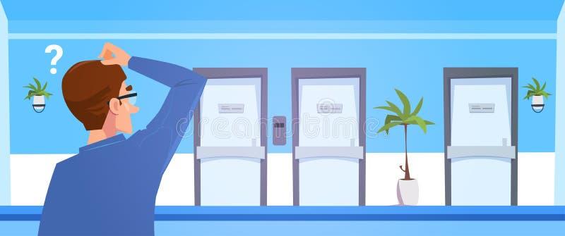 Rozpamiętywać mężczyzna W Szpitalnym Wybiera Dortor biura drzwi ilustracja wektor