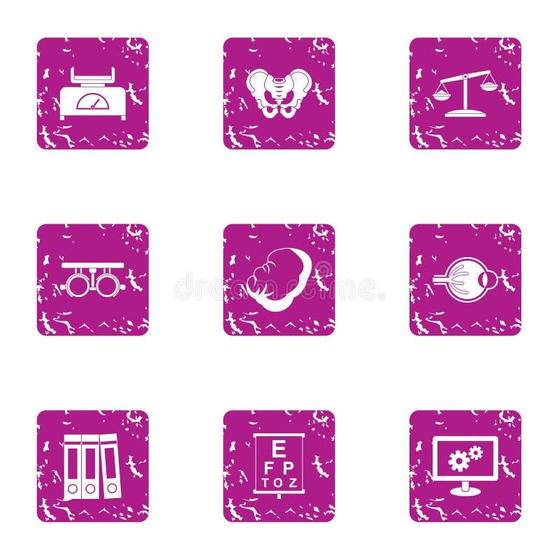 Rozpamiętywa ikony ustawiać, grunge styl ilustracji