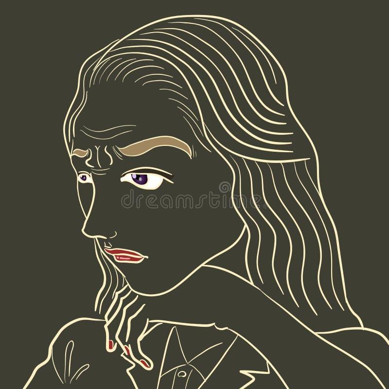 Rozpamiętywa twarz ilustracja wektor