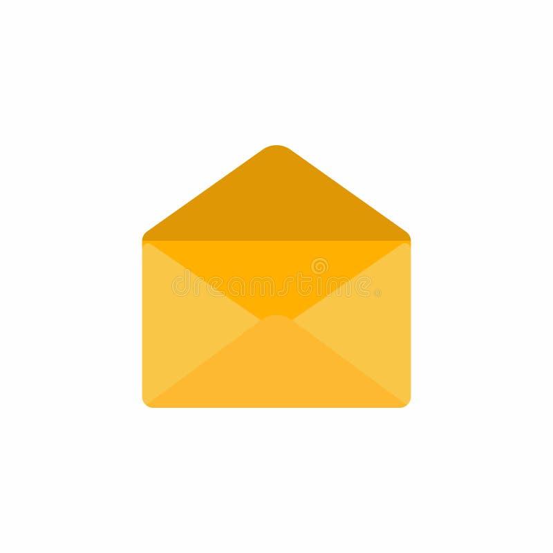 Rozpieczętowanego pustego złotego żółtego kopertowego ikona znaka płaskiego projekta wektorowa ilustracja odizolowywająca na biał ilustracja wektor