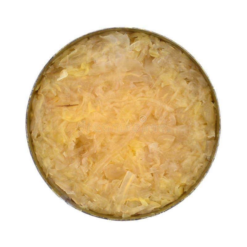 Rozpieczętowana cyna konserwować sauerkraut obraz stock