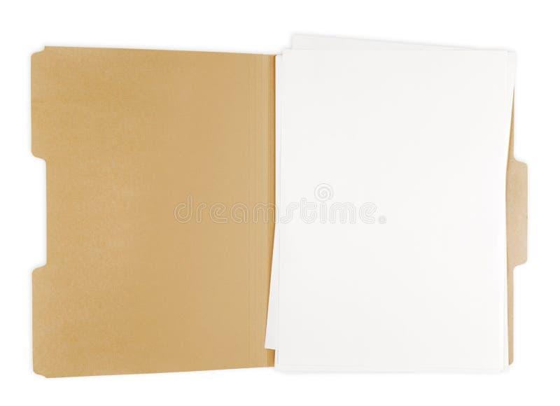 Rozpieczętowana kartoteki falcówka z białym papierem w nim zdjęcia royalty free