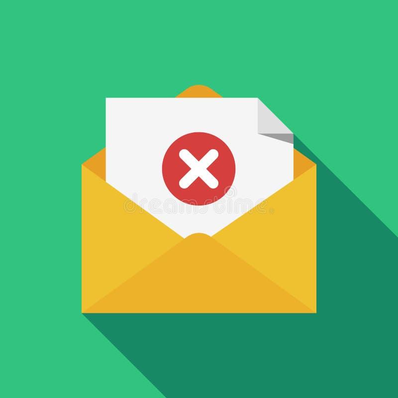 Rozpieczętowana koperta i dokument z czerwieni x oceny linii ikoną Wiadomość no wysyłał, błąd, e-mailowa dostawa nie udać się, us ilustracja wektor