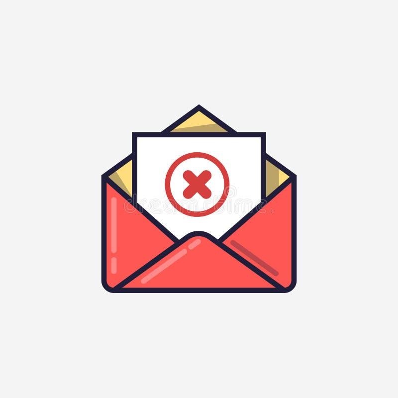 Rozpieczętowana koperta i dokument z czerwieni x oceny linii ikoną Wiadomość no wysyłał, błąd, e-mailowa dostawa nie udać się, us ilustracji