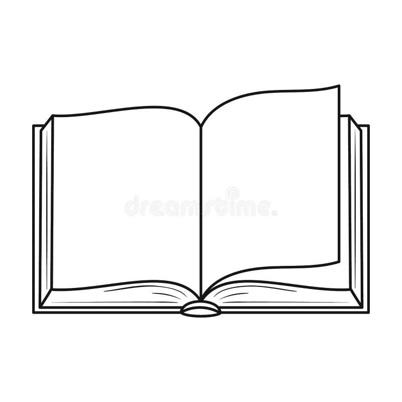 Rozpieczętowana książkowa ikona w konturu stylu odizolowywającym na białym tle Książka symbolu zapasu wektoru ilustracja royalty ilustracja