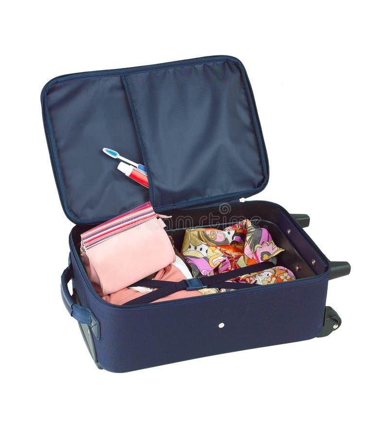 rozpieczętowana płótno walizka zdjęcie royalty free