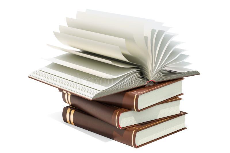 Rozpieczętowana puste miejsce książka na rozsypisku książki, 3D rendering ilustracja wektor