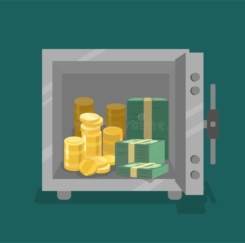 Rozpieczętowana skrytka z monetami i spienięża wewnątrz frontowego widok Mieszkanie styl ilustracji