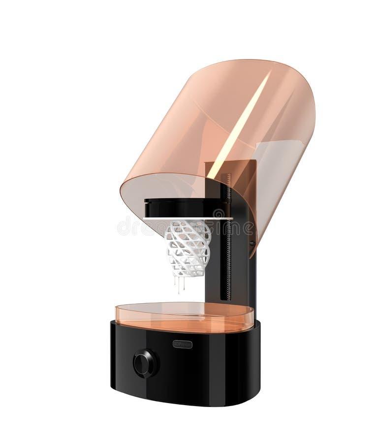 Rozpieczętowana SLA 3D drukarka odizolowywająca na białym tle ilustracji