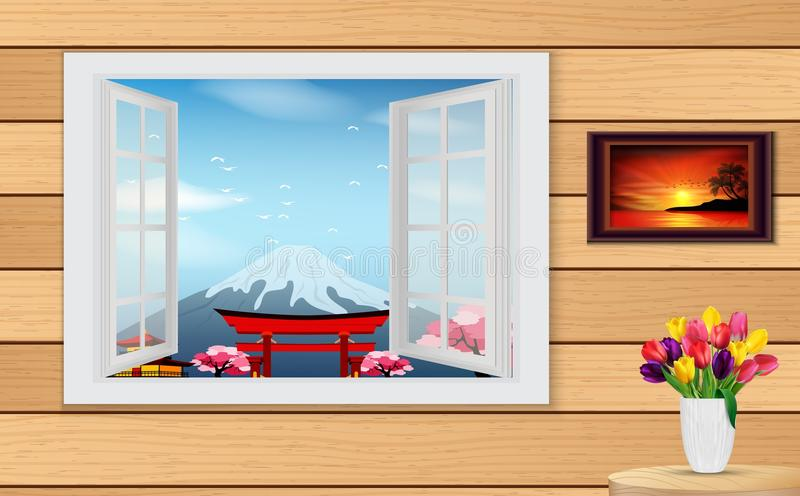 Rozpieczętowany drewniany okno i widok na Fuji Pagodowym i Halnym ilustracji