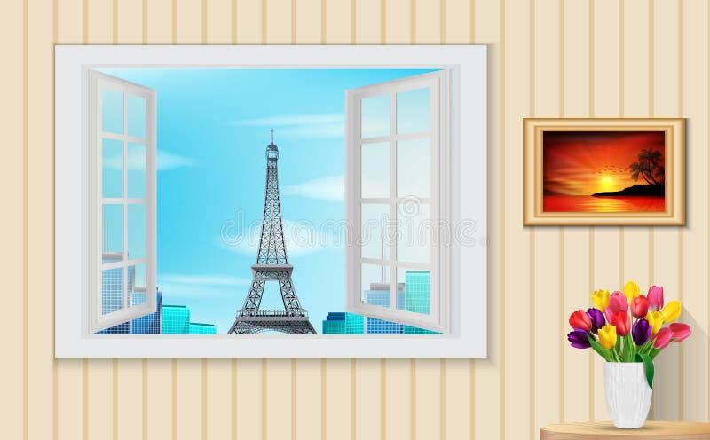 Rozpieczętowany drewniany okno i widok na wieży eifla ilustracja wektor