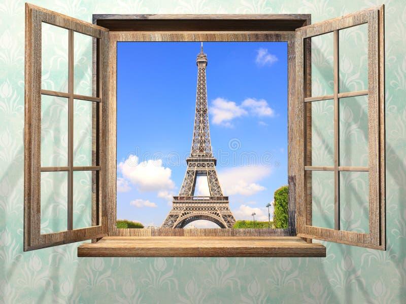 Rozpieczętowany drewniany okno i widok na wieży eifla, Paryż obraz stock