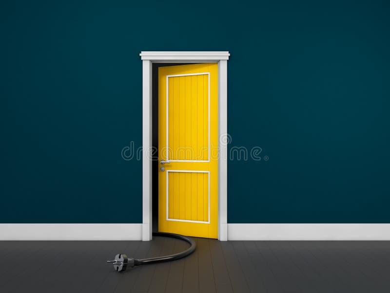 Rozpieczętowany drzwi w błękitnym pokoju z władzy szpilką Chromatyczny wizerunek ilustracja 3 d royalty ilustracja