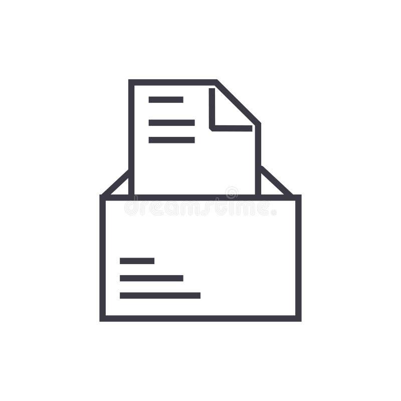Rozpieczętowany email z listową wektor linii ikoną, znak, ilustracja na tle, editable uderzenia ilustracji