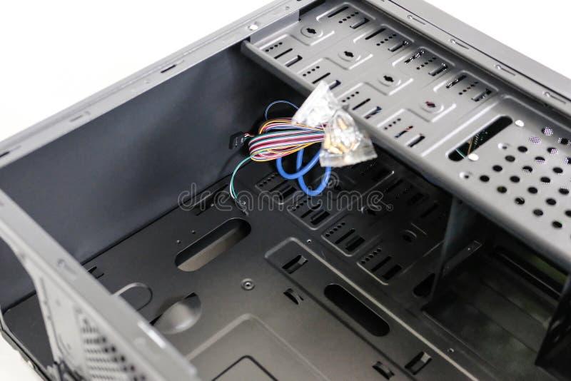 Rozpieczętowany, kości komputerowy podwozie używać dla Bitcoin kopalnictwa zdjęcie stock