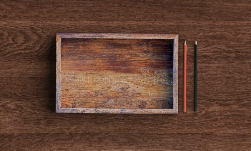 Rozpieczętowany kwadratowy drewniany pudełko na drewnianym stole ?wiadczenia 3 d obraz stock