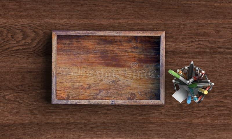 Rozpieczętowany kwadratowy drewniany pudełko na drewnianym stole ?wiadczenia 3 d fotografia stock