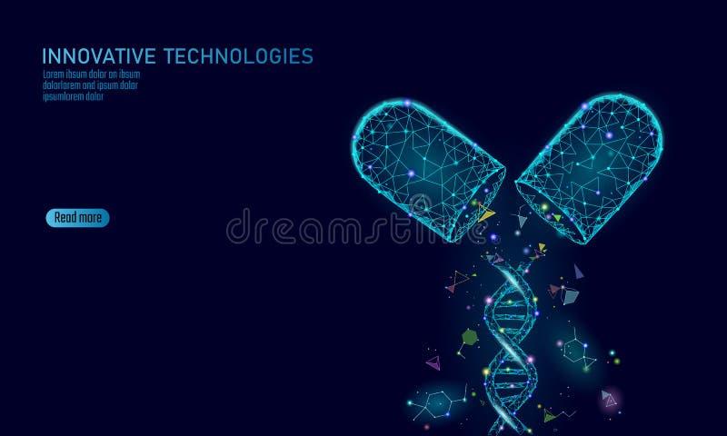 Rozpieczętowany lek kapsuły medycyny biznesu pojęcie DNA genu terapii błękitnego medicament prebiotic probiotic balowa opieka zdr ilustracji