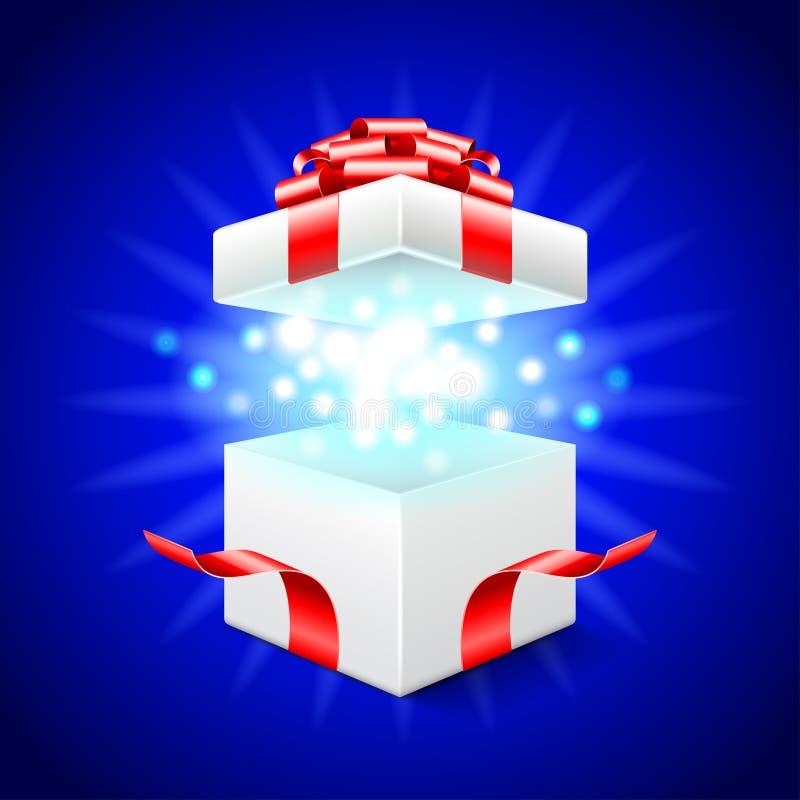 Rozpieczętowany prezenta pudełko na błękitnym wektorowym tle ilustracji