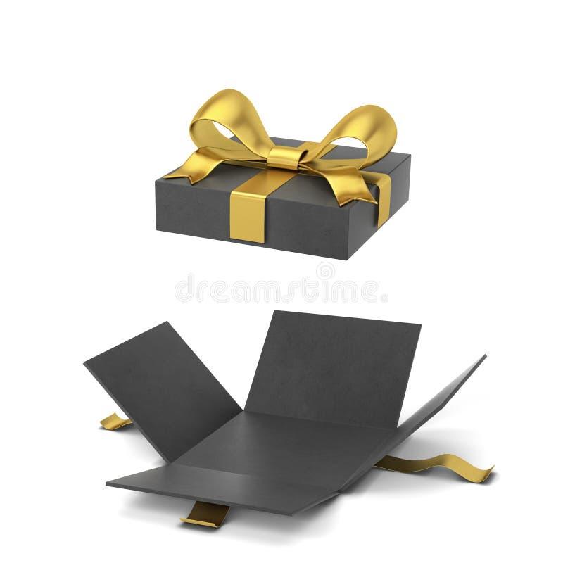 Rozpieczętowany prezenta pudełko z colourful faborkiem i łękiem ilustracji