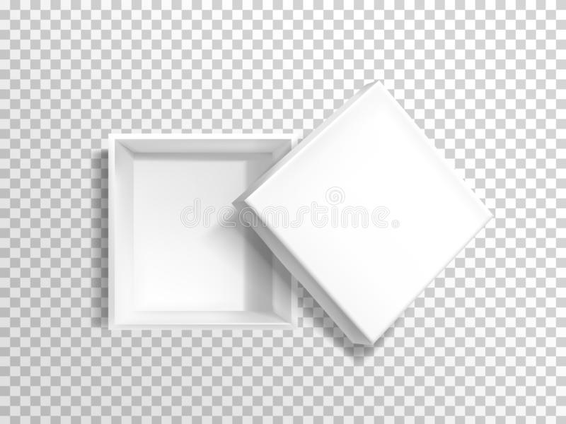 Rozpieczętowany, pusty biały pizzy pudełka wektoru szablon, royalty ilustracja
