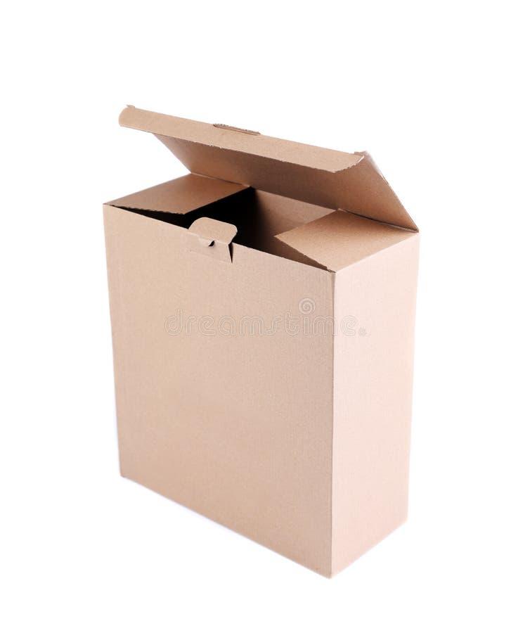 Rozpieczętowany pusty karton odizolowywający obraz stock