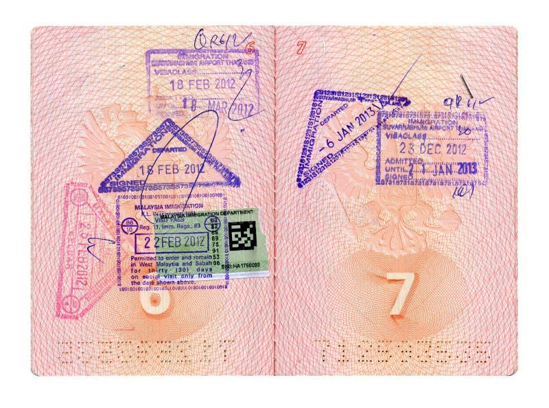 Rozpieczętowany Rosyjski paszport z znaczkami obraz stock