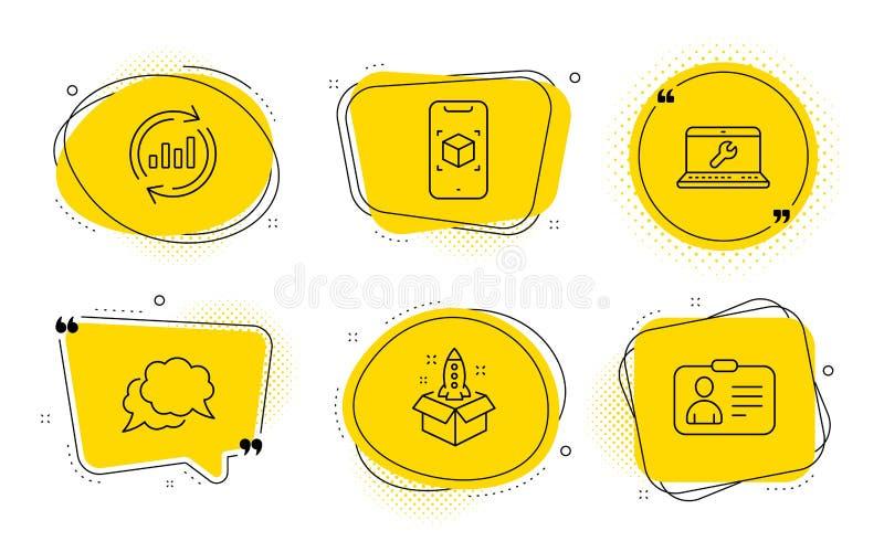 Rozpoczęcie, aktualizacja dane i gadki wiadomość ikony ustawiać, Laptop naprawa, Zwiększająca rzeczywistość i Id karta, podpisuje ilustracji