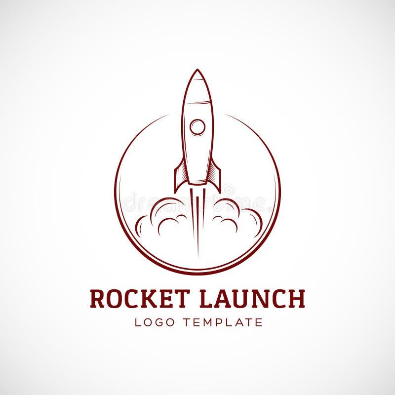Rozpoczęcie Astronautycznego statku Rakietowy Abstrakcjonistyczny Wektorowy logo ilustracja wektor