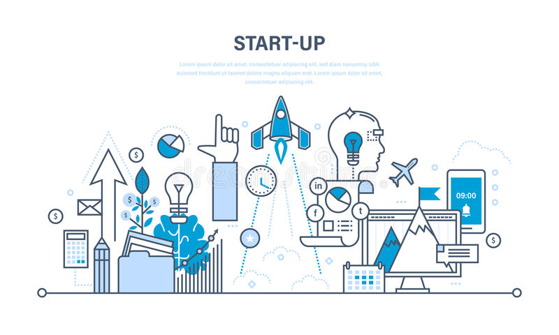 Rozpoczęcie, biznes i procesy, kreatywnie urzeczywistnienie pomysły royalty ilustracja