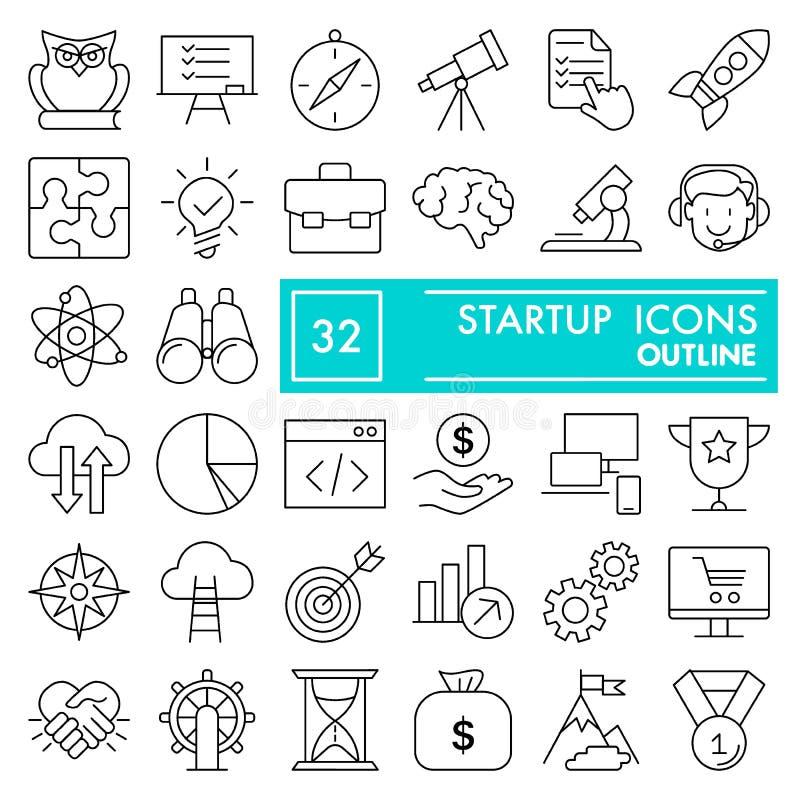 Rozpoczęcie ikony kreskowy set, biznesowi symbole kolekcja, wektor kreśli, logo ilustracje, przedsiębiorców znaki liniowi royalty ilustracja