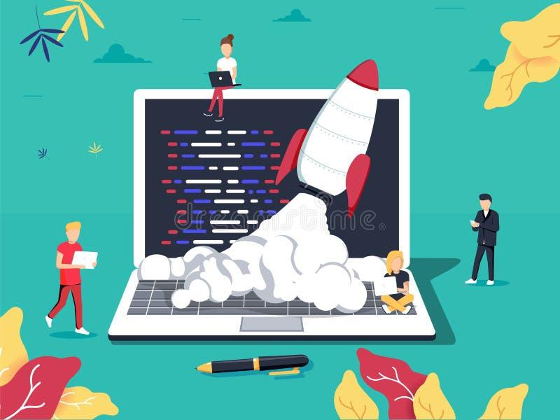 Rozpoczęcie, programista, biznesowy projekt, pomysł, zarządzanie projektem Płaska projekta wektoru ilustracja royalty ilustracja
