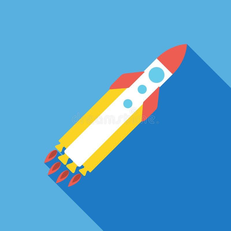 rozpoczęcie rakietowa ikona pojęcia prowadzenia domu posiadanie klucza złoty sięgający niebo Płaska wektorowa ilustracja ilustracji