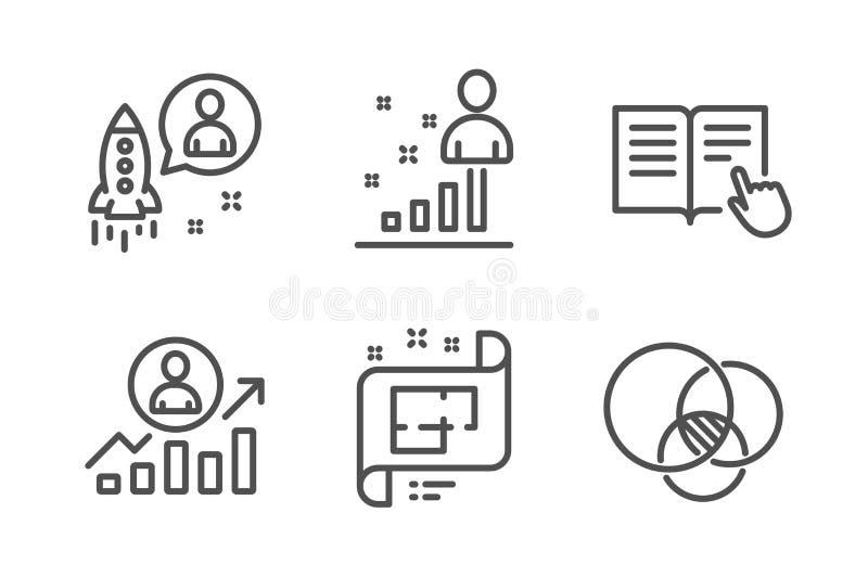 Rozpocz?cia, Stats i Architektonicznego planu ikony ustawia?, Czyta instrukcj?, kariery drabina i Euler diagram podpisuje wektor royalty ilustracja