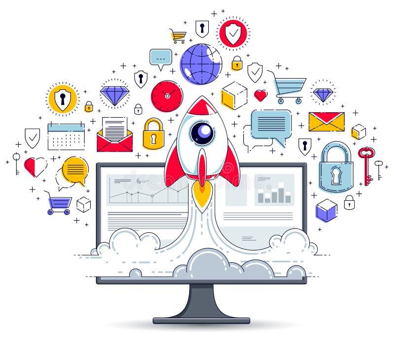 Rozpocz?cie rakieta zdejmuje nad komputerowym monitorem i set ikony, astronautyczna rakieta lataj?ca zaczyna w g?r? interneta biz royalty ilustracja